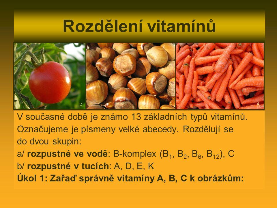 Rozdělení vitamínů V současné době je známo 13 základních typů vitamínů.