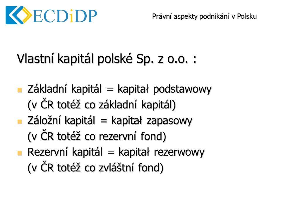 Vlastní kapitál polské Sp. z o.o.