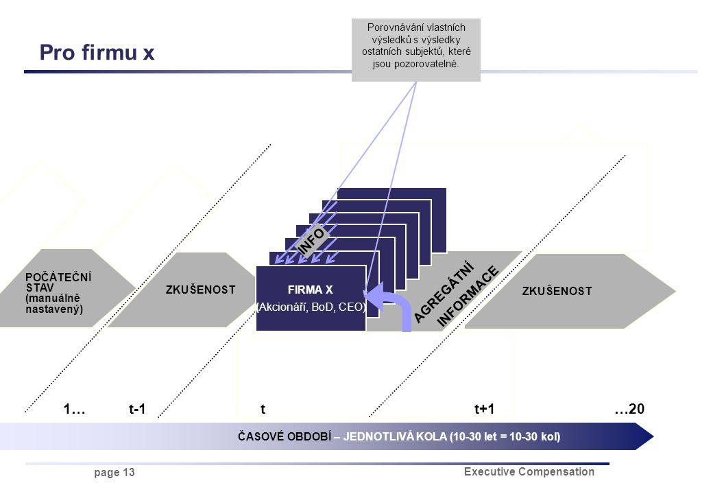 page 13 Executive Compensation ZKUŠENOST AGREGÁTNÍ INFORMACE FIRMA X Pro firmu x FIRMA X (Akcionáří, BoD, CEO) ČASOVÉ OBDOBÍ – JEDNOTLIVÁ KOLA (10-30 let = 10-30 kol) 1…t-1t t+1 …20 INFO Porovnávání vlastních výsledků s výsledky ostatních subjektů, které jsou pozorovatelné.