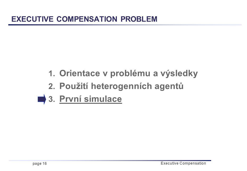 page 16 Executive Compensation 1. Orientace v problému a výsledky 2. Použití heterogenních agentů 3. První simulace EXECUTIVE COMPENSATION PROBLEM
