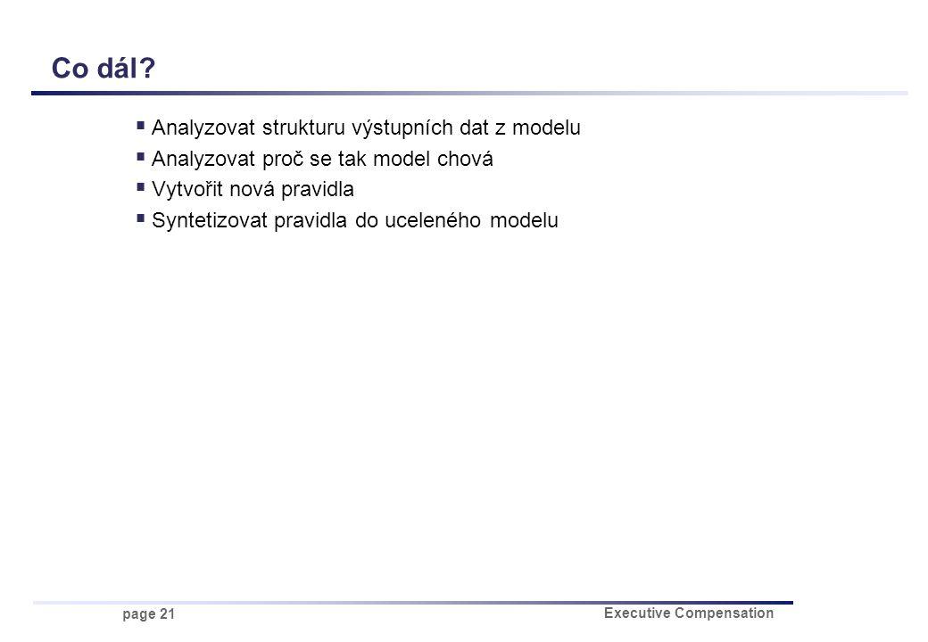 page 21 Executive Compensation Co dál?  Analyzovat strukturu výstupních dat z modelu  Analyzovat proč se tak model chová  Vytvořit nová pravidla 