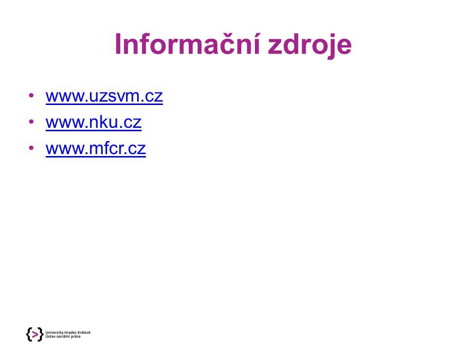 Informační zdroje www.uzsvm.cz www.nku.cz www.mfcr.cz