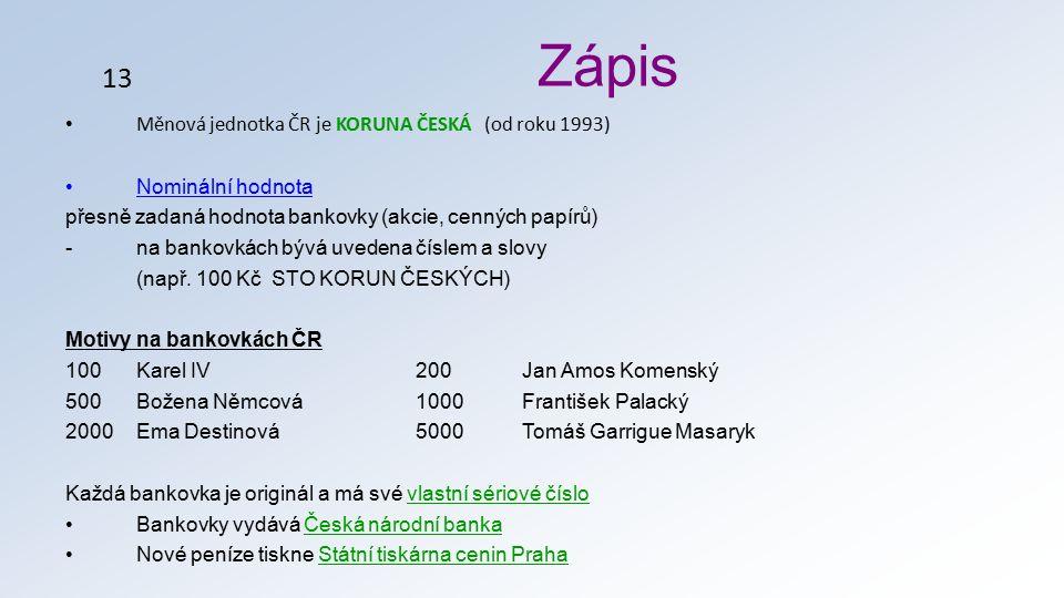Měnová jednotka ČR je KORUNA ČESKÁ (od roku 1993) Nominální hodnota přesně zadaná hodnota bankovky (akcie, cenných papírů) -na bankovkách bývá uvedena číslem a slovy (např.