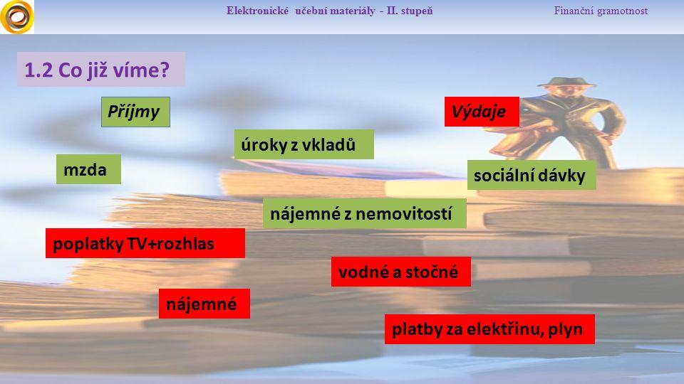 Elektronické učební materiály - II. stupeň Finanční gramotnost 1.2 Co již víme.