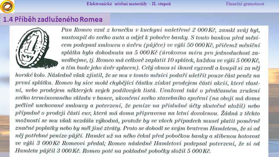 Elektronické učební materiály - II. stupeň Finanční gramotnost 1.4 Příběh zadluženého Romea