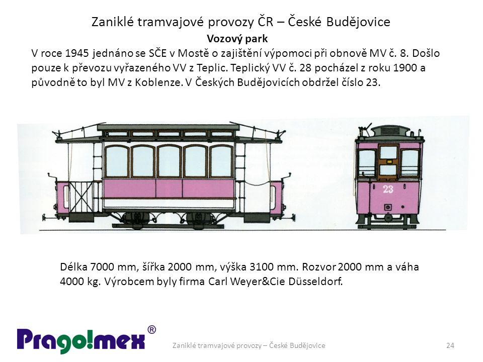 Zaniklé tramvajové provozy ČR – České Budějovice Vozový park V roce 1945 jednáno se SČE v Mostě o zajištění výpomoci při obnově MV č. 8. Došlo pouze k