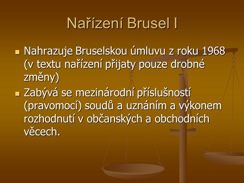 Nařízení Brusel I Nahrazuje Bruselskou úmluvu z roku 1968 (v textu nařízení přijaty pouze drobné změny) Nahrazuje Bruselskou úmluvu z roku 1968 (v textu nařízení přijaty pouze drobné změny) Zabývá se mezinárodní příslušností (pravomocí) soudů a uznáním a výkonem rozhodnutí v občanských a obchodních věcech.