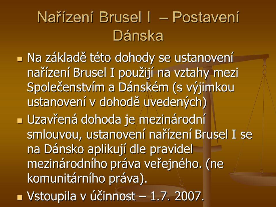Nařízení Brusel I – Postavení Dánska Na základě této dohody se ustanovení nařízení Brusel I použijí na vztahy mezi Společenstvím a Dánském (s výjimkou ustanovení v dohodě uvedených) Na základě této dohody se ustanovení nařízení Brusel I použijí na vztahy mezi Společenstvím a Dánském (s výjimkou ustanovení v dohodě uvedených) Uzavřená dohoda je mezinárodní smlouvou, ustanovení nařízení Brusel I se na Dánsko aplikují dle pravidel mezinárodního práva veřejného.
