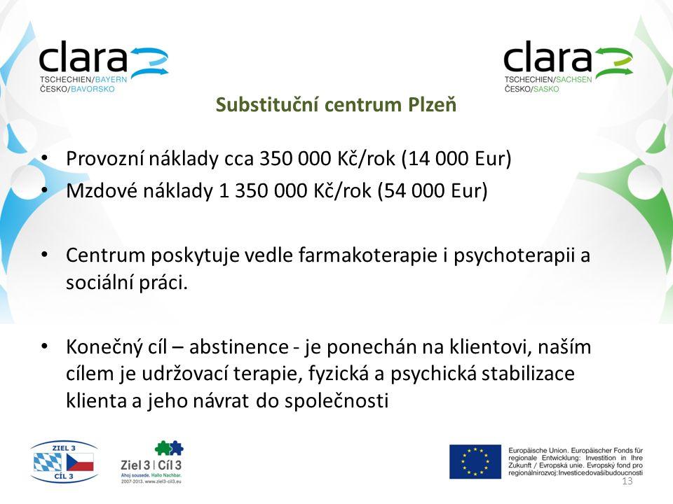 Substituční centrum Plzeň Provozní náklady cca 350 000 Kč/rok (14 000 Eur) Mzdové náklady 1 350 000 Kč/rok (54 000 Eur) Centrum poskytuje vedle farmakoterapie i psychoterapii a sociální práci.