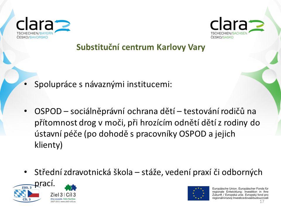 Substituční centrum Karlovy Vary Spolupráce s návaznými institucemi: OSPOD – sociálněprávní ochrana dětí – testování rodičů na přítomnost drog v moči, při hrozícím odnětí dětí z rodiny do ústavní péče (po dohodě s pracovníky OSPOD a jejich klienty) Střední zdravotnická škola – stáže, vedení praxí či odborných prací.