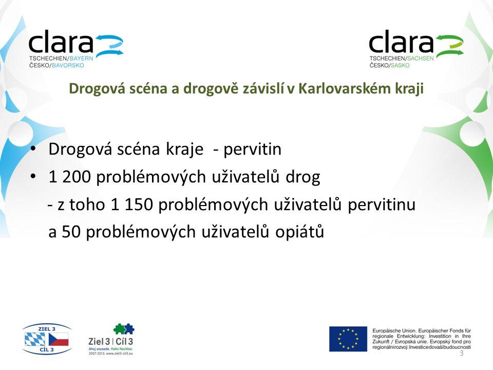Drogová scéna a drogově závislí v Karlovarském kraji Drogová scéna kraje - pervitin 1 200 problémových uživatelů drog - z toho 1 150 problémových uživ