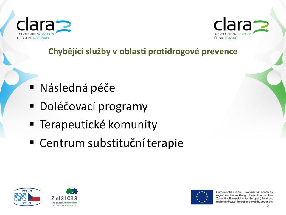 Chybějící služby v oblasti protidrogové prevence  Následná péče  Doléčovací programy  Terapeutické komunity  Centrum substituční terapie 5