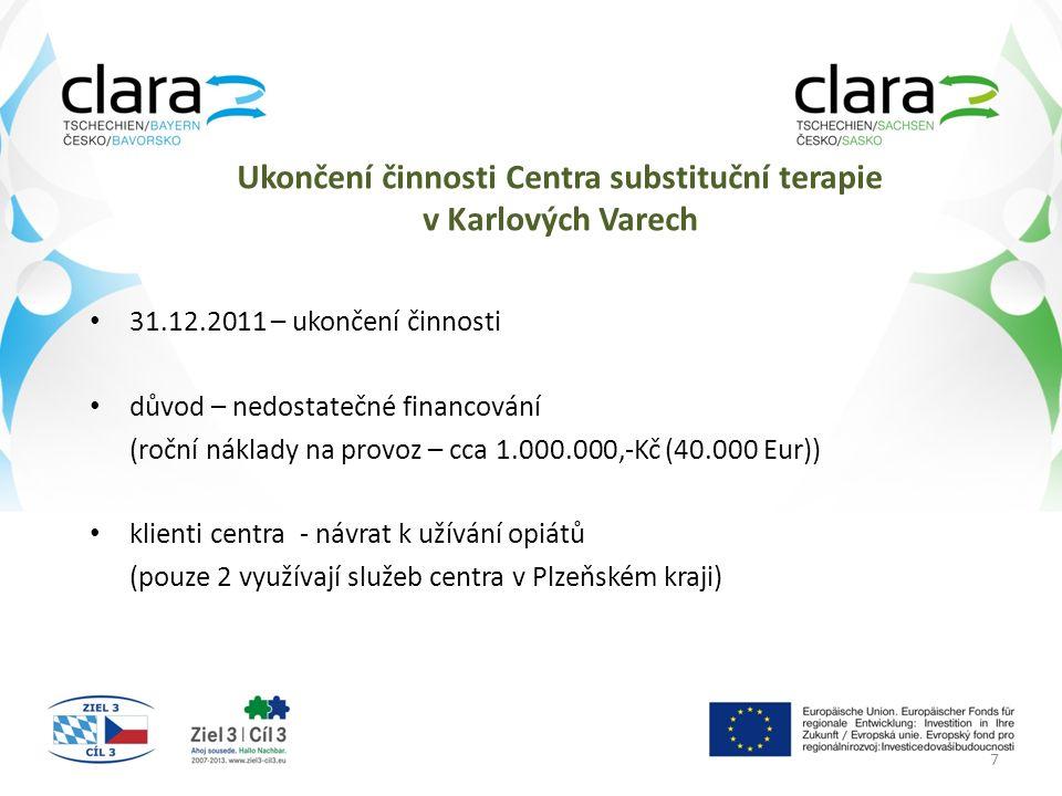Ukončení činnosti Centra substituční terapie v Karlových Varech 31.12.2011 – ukončení činnosti důvod – nedostatečné financování (roční náklady na provoz – cca 1.000.000,-Kč (40.000 Eur)) klienti centra - návrat k užívání opiátů (pouze 2 využívají služeb centra v Plzeňském kraji) 7