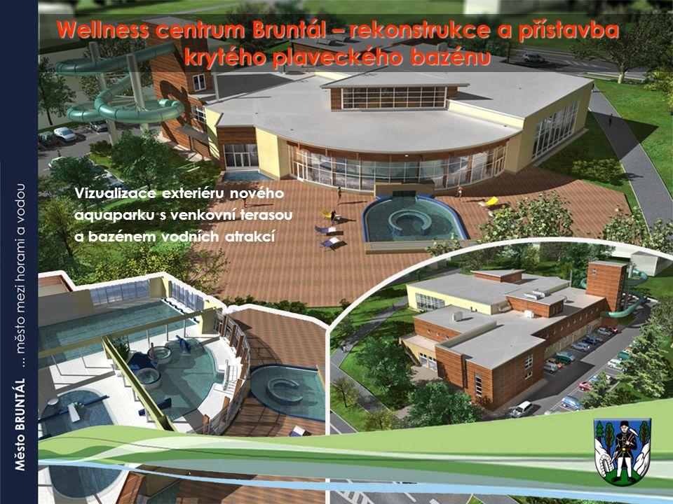 Wellness centrum Bruntál – rekonstrukce a přístavba krytého plaveckého bazénu Vizualizace exteriéru nového aquaparku s venkovní terasou a bazénem vodních atrakcí
