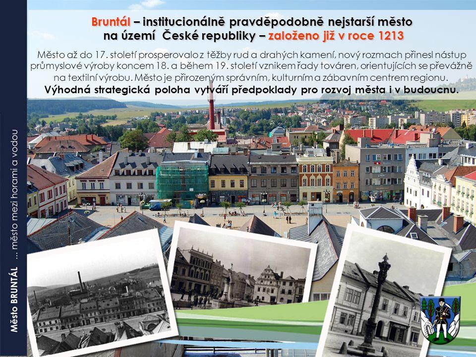 Bruntál – institucionálně pravděpodobně nejstarší město na území České republiky – založeno již v roce 1213 na území České republiky – založeno již v roce 1213 Město až do 17.