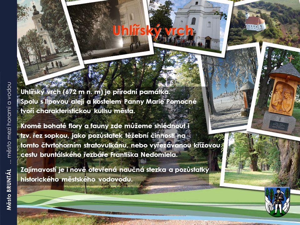 Uhlířský vrch Uhlířský vrch (672 m n. m) je přírodní památka. Spolu s lipovou alejí a kostelem Panny Marie Pomocné tvoří charakteristickou kulisu měst
