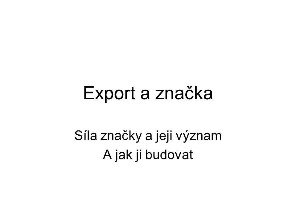 Export a značka Síla značky a jeji význam A jak ji budovat