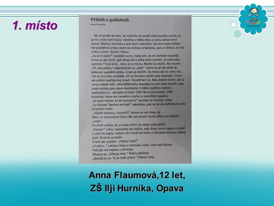 Anna Flaumová,12 let, ZŠ Ilji Hurníka, Opava 1. místo