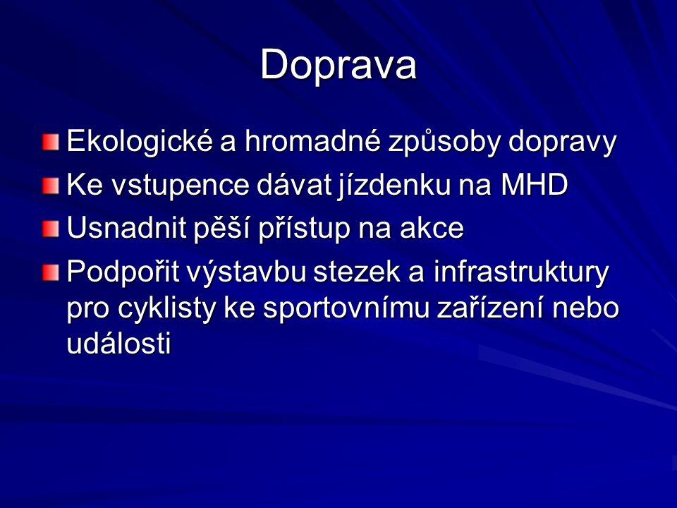 Doprava Ekologické a hromadné způsoby dopravy Ke vstupence dávat jízdenku na MHD Usnadnit pěší přístup na akce Podpořit výstavbu stezek a infrastruktury pro cyklisty ke sportovnímu zařízení nebo události