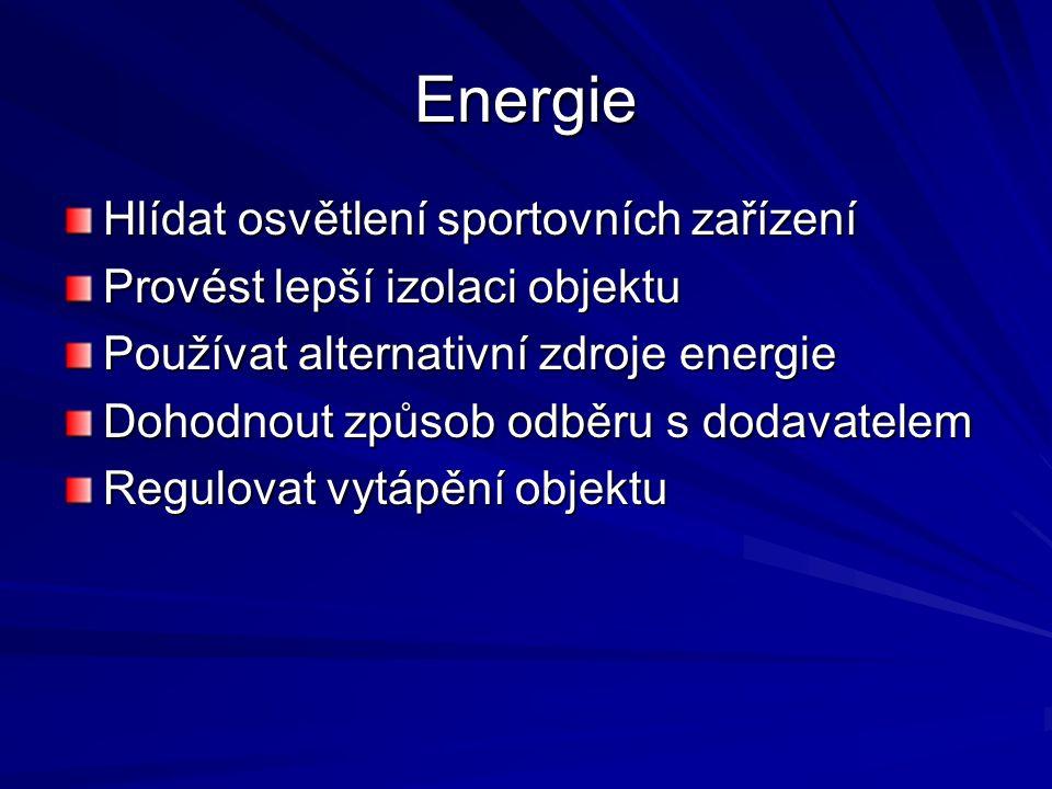 Energie Hlídat osvětlení sportovních zařízení Provést lepší izolaci objektu Používat alternativní zdroje energie Dohodnout způsob odběru s dodavatelem Regulovat vytápění objektu