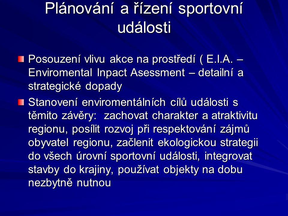 Plánování a řízení sportovní události Posouzení vlivu akce na prostředí ( E.I.A.