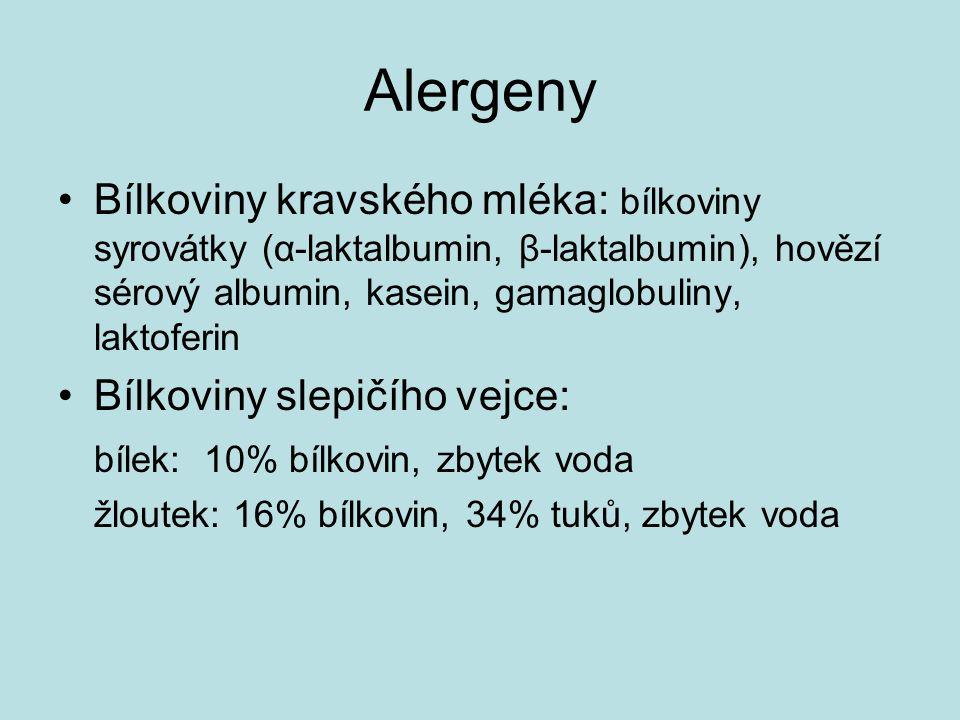 Alergeny Bílkoviny kravského mléka: bílkoviny syrovátky (α-laktalbumin, β-laktalbumin), hovězí sérový albumin, kasein, gamaglobuliny, laktoferin Bílkoviny slepičího vejce: bílek: 10% bílkovin, zbytek voda žloutek: 16% bílkovin, 34% tuků, zbytek voda