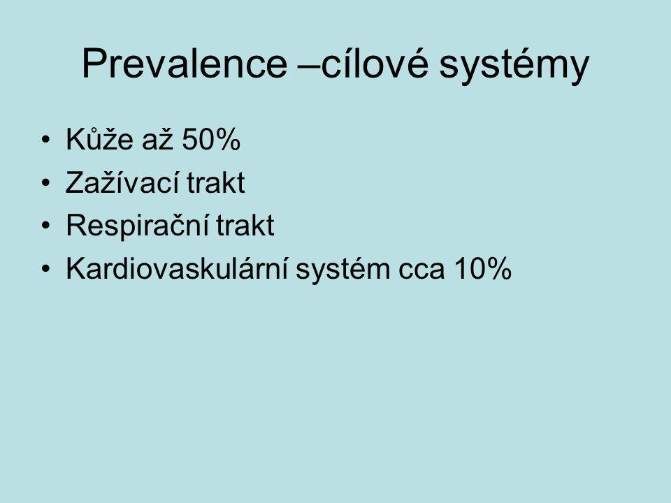 Prevalence –cílové systémy Kůže až 50% Zažívací trakt Respirační trakt Kardiovaskulární systém cca 10%