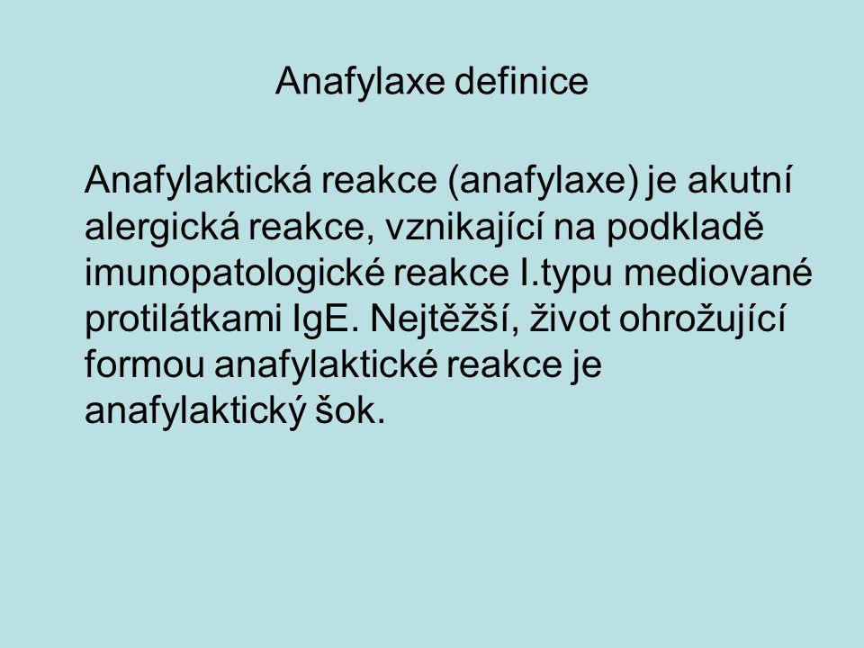 Anafylaxe definice Anafylaktická reakce (anafylaxe) je akutní alergická reakce, vznikající na podkladě imunopatologické reakce I.typu mediované protilátkami IgE.