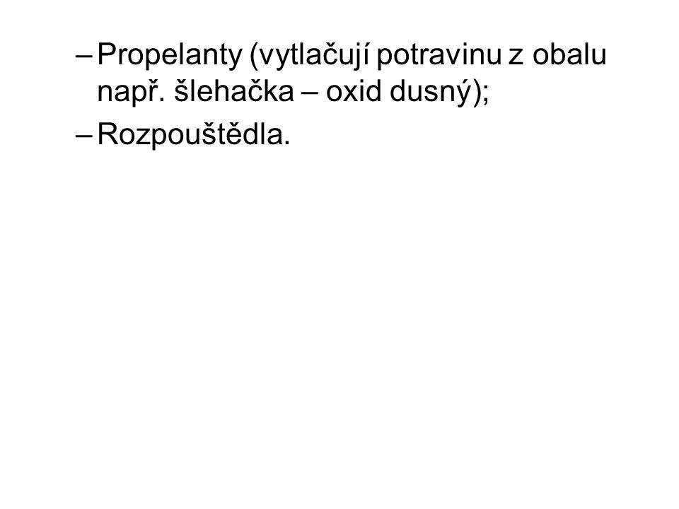 –Propelanty (vytlačují potravinu z obalu např. šlehačka – oxid dusný); –Rozpouštědla.