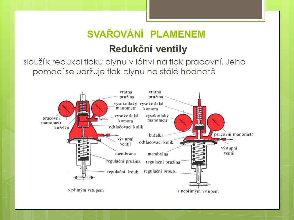 SVAŘOVÁNÍ PLAMENEM Redukční ventily slouží k redukci tlaku plynu v láhvi na tlak pracovní.