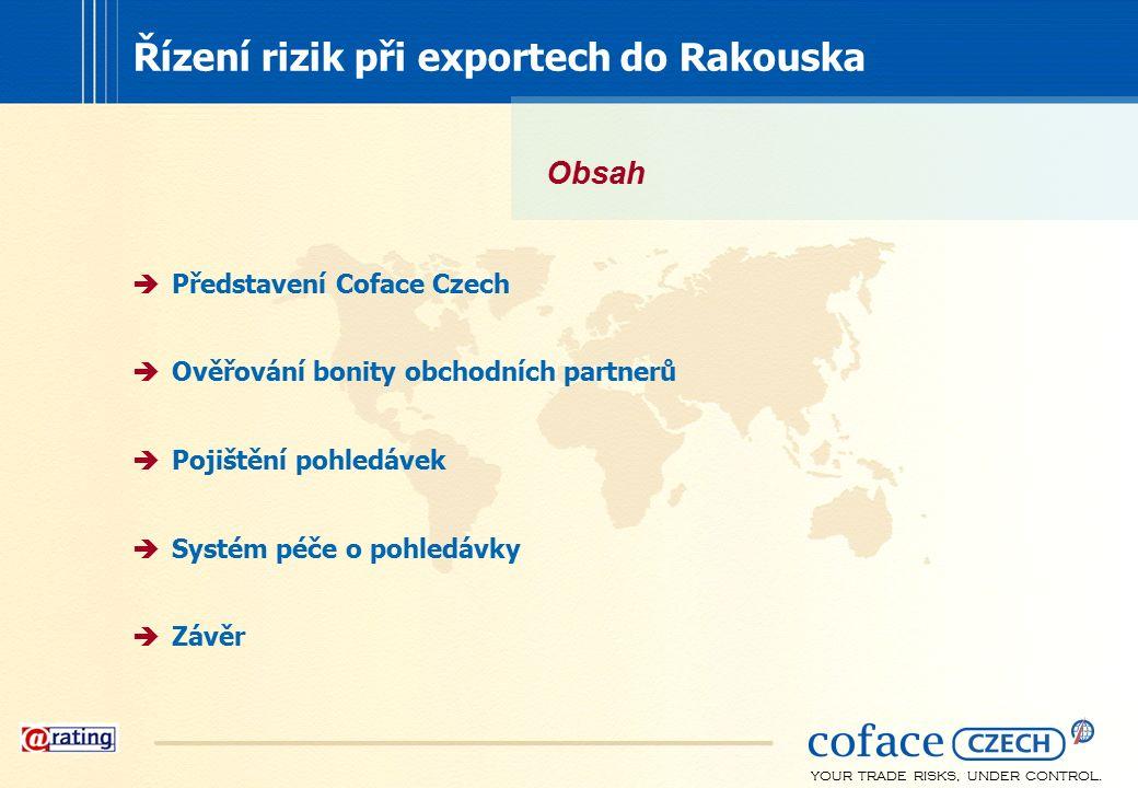 YOUR TRADE RISKS, UNDER CONTROL.  Představení Coface Czech  Ověřování bonity obchodních partnerů  Pojištění pohledávek  Systém péče o pohledávky 
