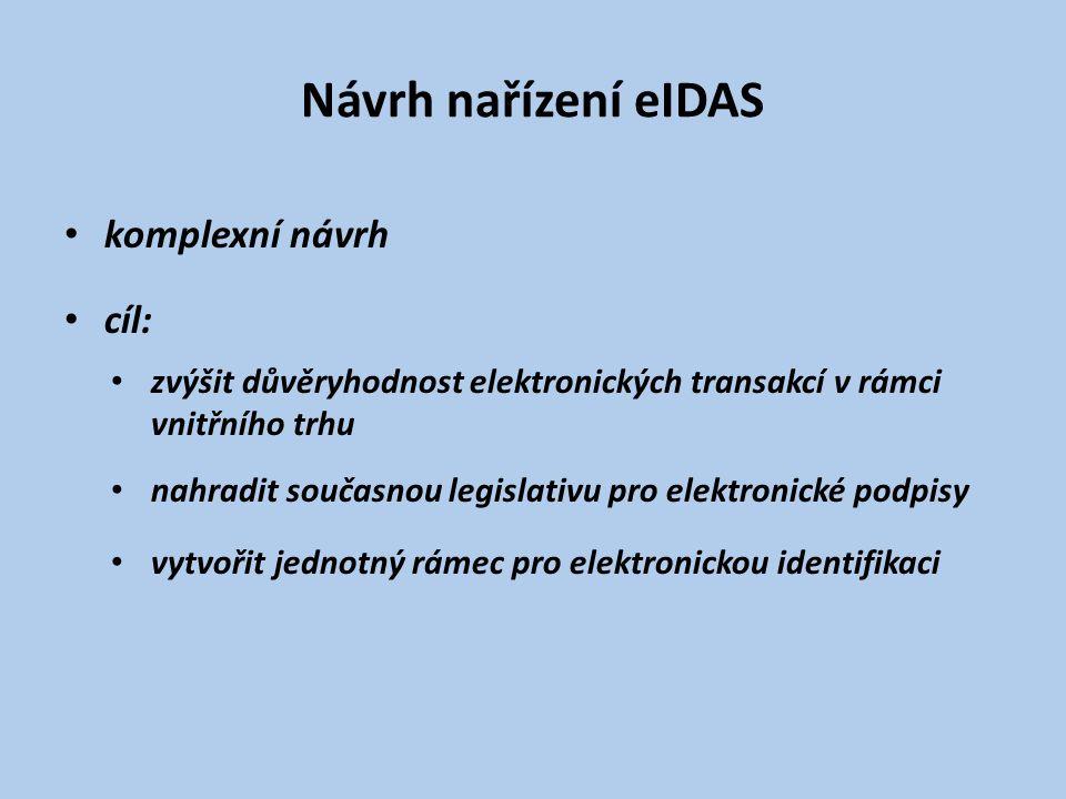 Návrh nařízení eIDAS komplexní návrh cíl: zvýšit důvěryhodnost elektronických transakcí v rámci vnitřního trhu nahradit současnou legislativu pro elektronické podpisy vytvořit jednotný rámec pro elektronickou identifikaci