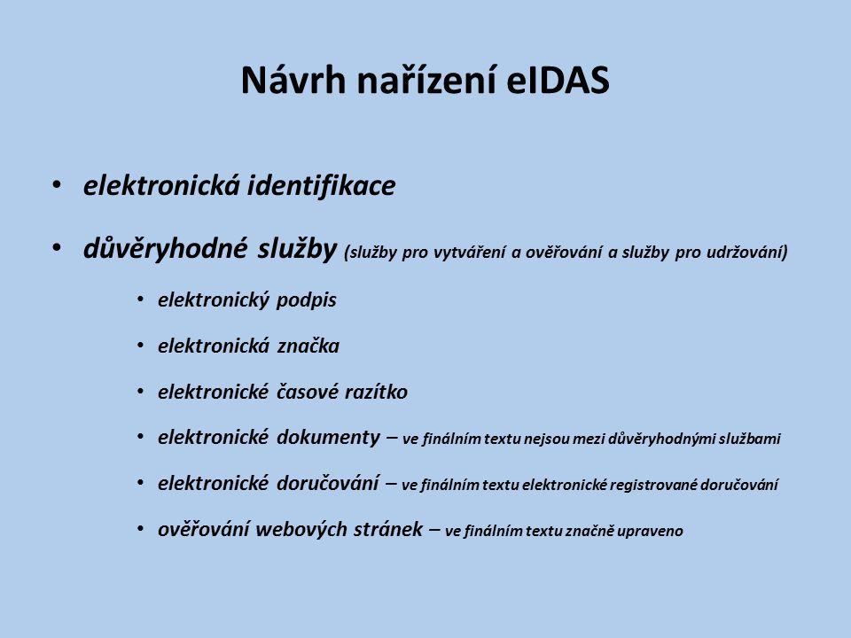 Návrh nařízení eIDAS elektronická identifikace důvěryhodné služby (služby pro vytváření a ověřování a služby pro udržování) elektronický podpis elektr