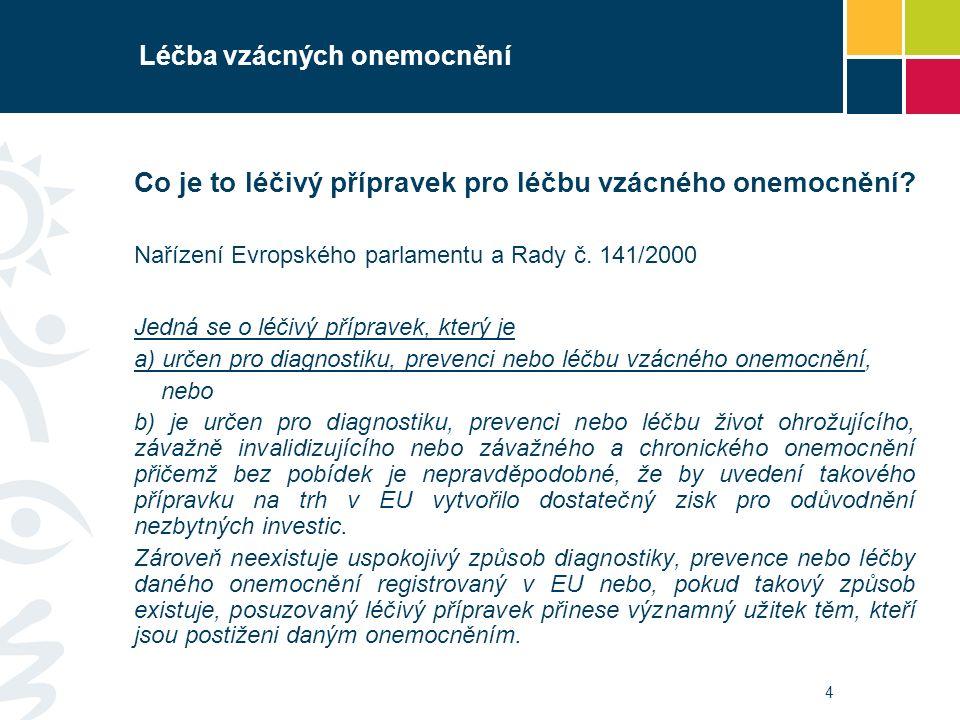 5 Léčba vzácných onemocnění Proces vývoje a registrace léčiv k léčbě vzácných onemocnění Nařízení Evropského parlamentu a Rady č.