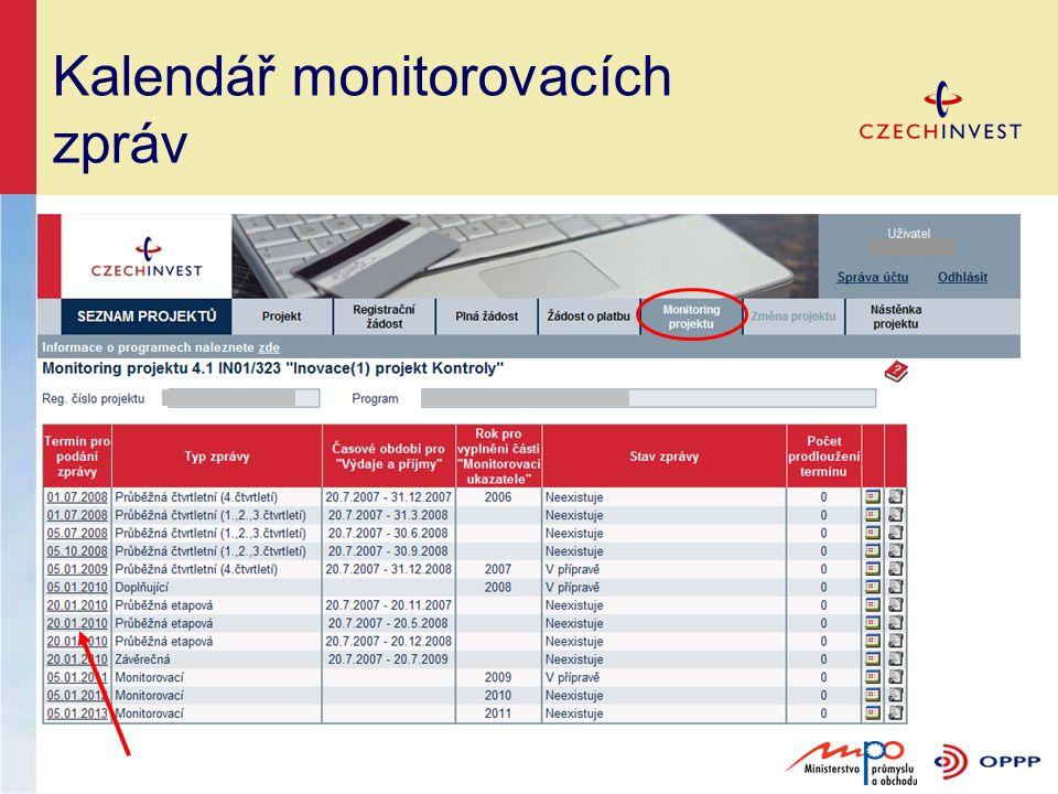 Kalendář monitorovacích zpráv