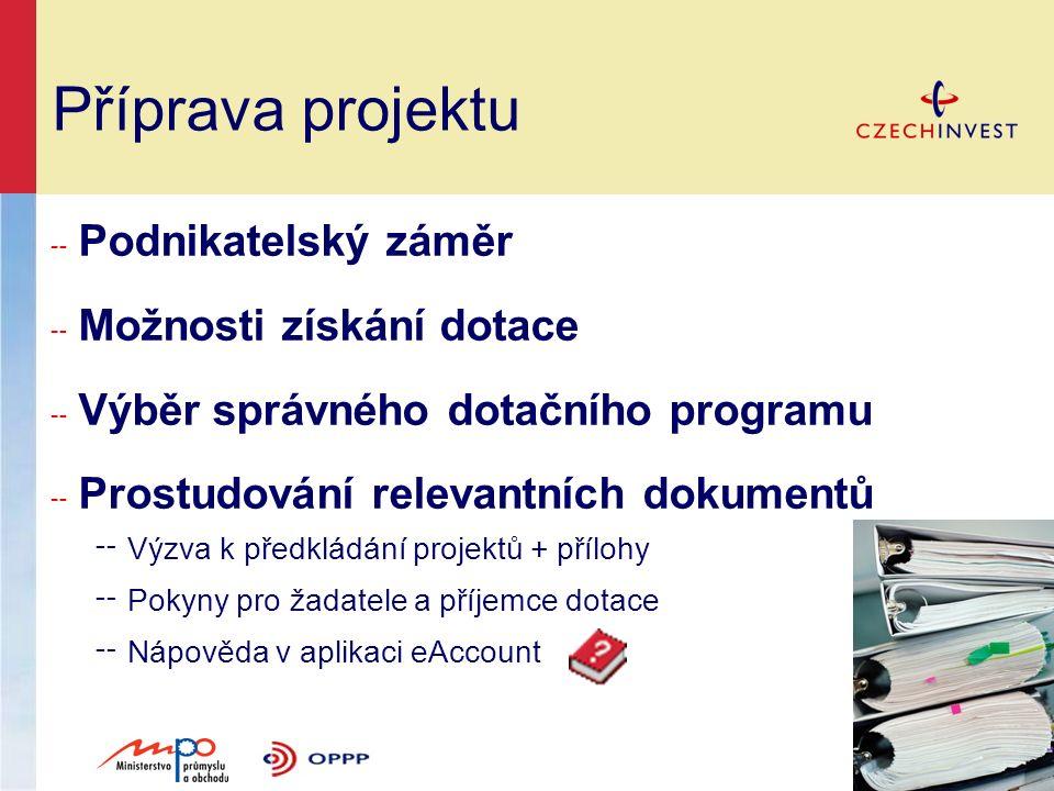 Příprava projektu ╌ Podnikatelský záměr ╌ Možnosti získání dotace ╌ Výběr správného dotačního programu ╌ Prostudování relevantních dokumentů ╌ Výzva k