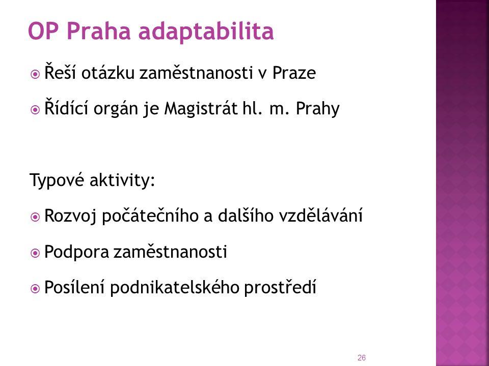  Řeší otázku zaměstnanosti v Praze  Řídící orgán je Magistrát hl.