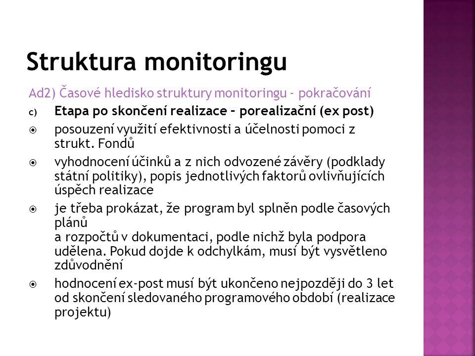 Ad2) Časové hledisko struktury monitoringu - pokračování c) Etapa po skončení realizace – porealizační (ex post)  posouzení využití efektivnosti a účelnosti pomoci z strukt.
