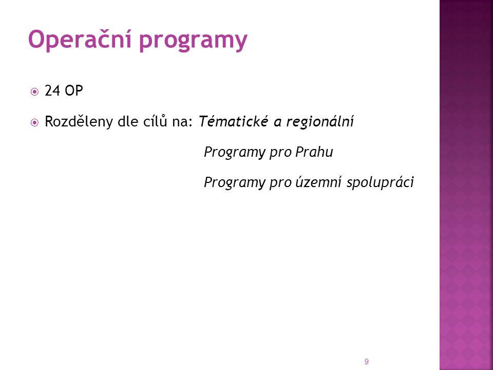  24 OP  Rozděleny dle cílů na: Tématické a regionální Programy pro Prahu Programy pro územní spolupráci 9 Operační programy