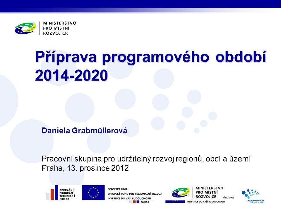 Daniela Grabmüllerová Pracovní skupina pro udržitelný rozvoj regionů, obcí a území Praha, 13.