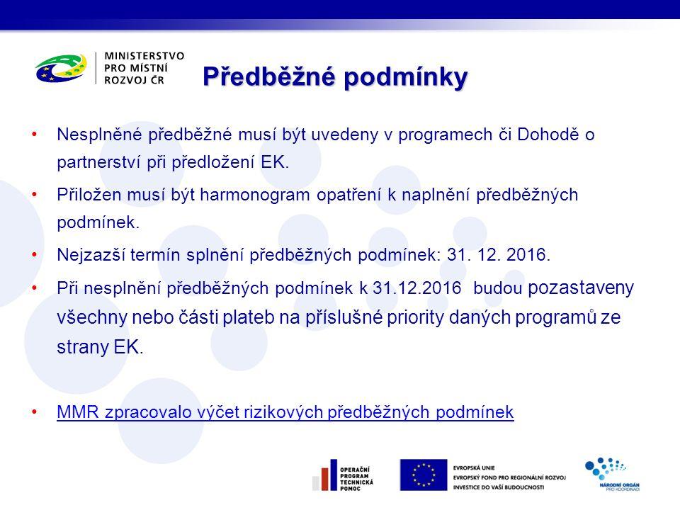 Nesplněné předběžné musí být uvedeny v programech či Dohodě o partnerství při předložení EK.