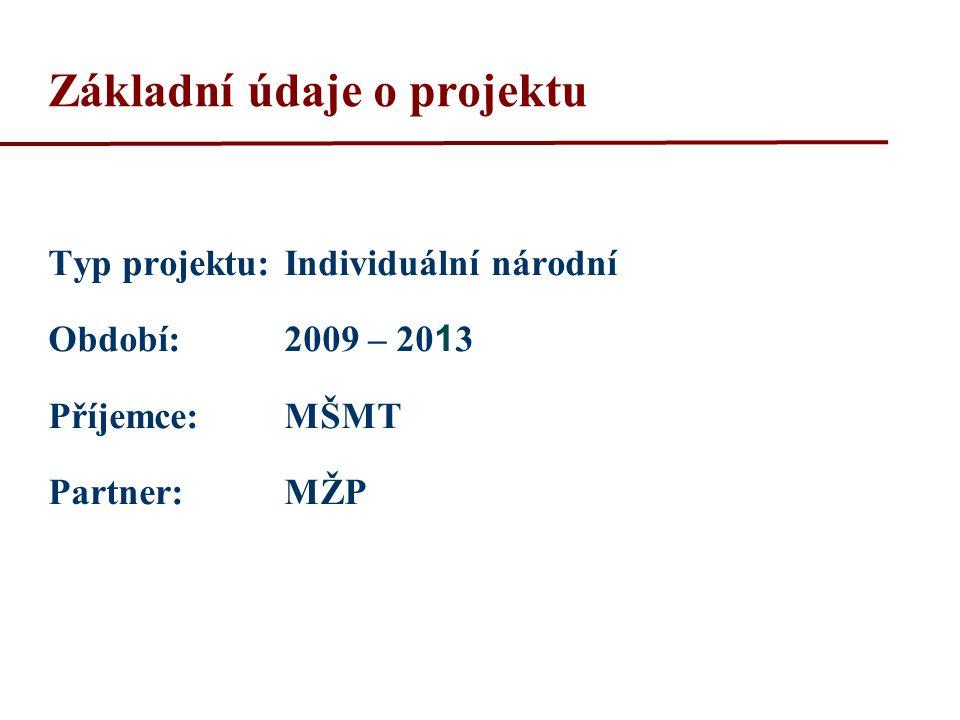 Základní údaje o projektu Typ projektu:Individuální národní Období:2009 – 20 1 3 Příjemce: MŠMT Partner: MŽP