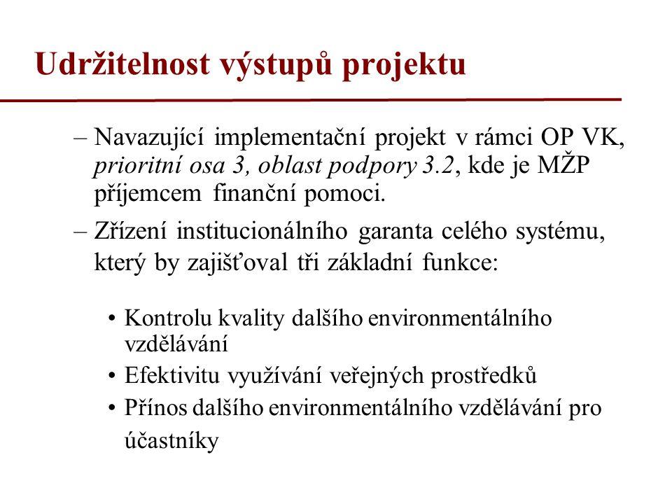 Udržitelnost výstupů projektu –Navazující implementační projekt v rámci OP VK, prioritní osa 3, oblast podpory 3.2, kde je MŽP příjemcem finanční pomoci.