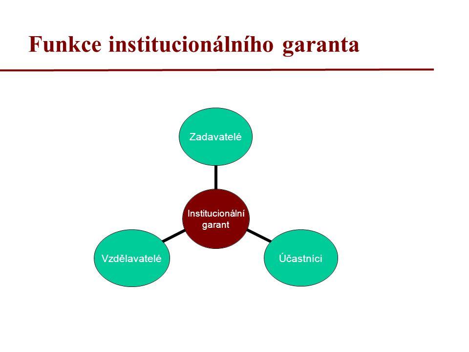Funkce institucionálního garanta Institucionální garant ZadavateléÚčastníciVzdělavatelé
