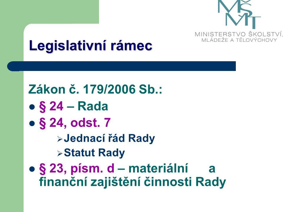 Legislativní rámec Zákon č. 179/2006 Sb.: § 24 – Rada § 24, odst.