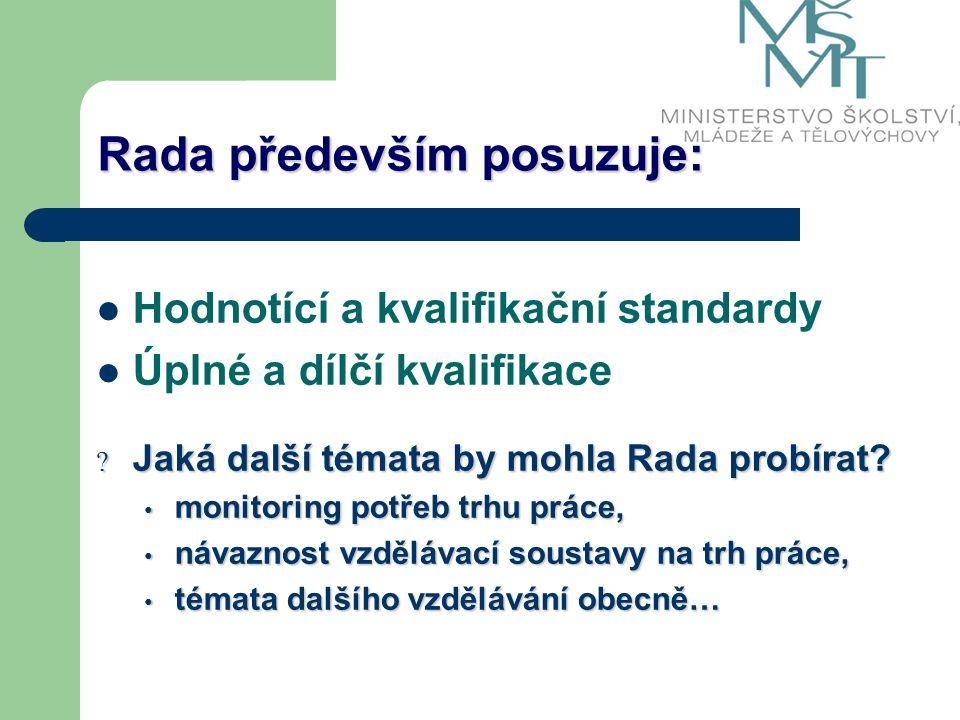 Rada především posuzuje: Hodnotící a kvalifikační standardy Úplné a dílčí kvalifikace .