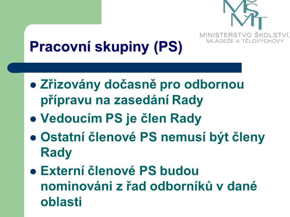 Pracovní skupiny (PS) Zřizovány dočasně pro odbornou přípravu na zasedání Rady Vedoucím PS je člen Rady Ostatní členové PS nemusí být členy Rady Externí členové PS budou nominováni z řad odborníků v dané oblasti