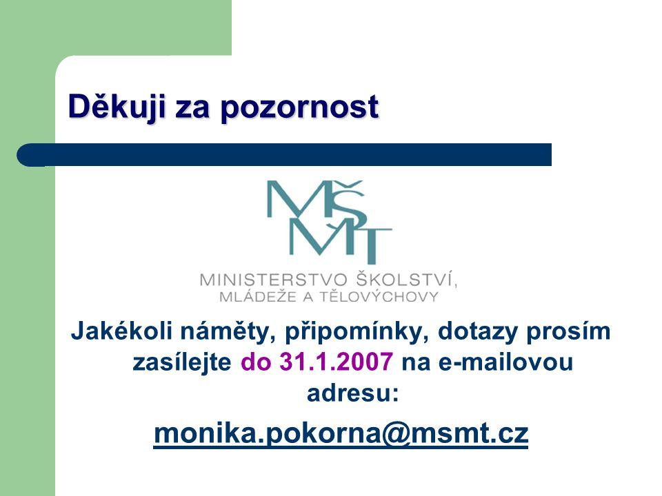 Děkuji za pozornost Jakékoli náměty, připomínky, dotazy prosím zasílejte do 31.1.2007 na e-mailovou adresu: monika.pokorna@msmt.cz