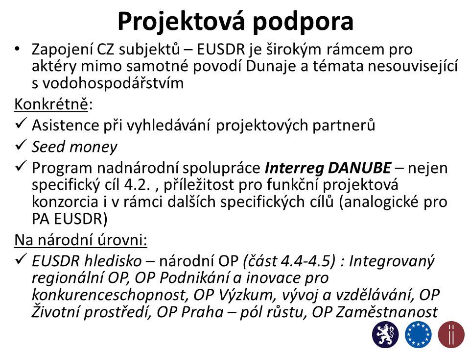 Projektová podpora Zapojení CZ subjektů – EUSDR je širokým rámcem pro aktéry mimo samotné povodí Dunaje a témata nesouvisející s vodohospodářstvím Konkrétně: Asistence při vyhledávání projektových partnerů Seed money Program nadnárodní spolupráce Interreg DANUBE – nejen specifický cíl 4.2., příležitost pro funkční projektová konzorcia i v rámci dalších specifických cílů (analogické pro PA EUSDR) Na národní úrovni: EUSDR hledisko – národní OP (část 4.4-4.5) : Integrovaný regionální OP, OP Podnikání a inovace pro konkurenceschopnost, OP Výzkum, vývoj a vzdělávání, OP Životní prostředí, OP Praha – pól růstu, OP Zaměstnanost 11