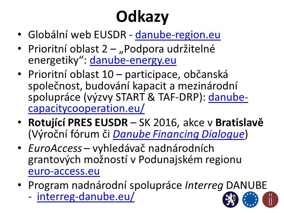 """Odkazy Globální web EUSDR - danube-region.eudanube-region.eu Prioritní oblast 2 – """"Podpora udržitelné energetiky : danube-energy.eudanube-energy.eu Prioritní oblast 10 – participace, občanská společnost, budování kapacit a mezinárodní spolupráce (výzvy START & TAF-DRP): danube- capacitycooperation.eu/danube- capacitycooperation.eu/ Rotující PRES EUSDR – SK 2016, akce v Bratislavě (Výroční fórum či Danube Financing Dialogue)Danube Financing Dialogue EuroAccess – vyhledávač nadnárodních grantových možností v Podunajském regionu euro-access.eu euro-access.eu Program nadnárodní spolupráce Interreg DANUBE - interreg-danube.eu/interreg-danube.eu/ 13"""
